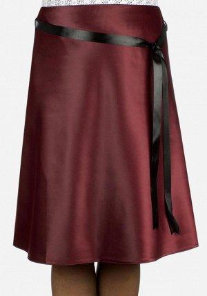 Атласная юбка шоколадного цвета! р 48