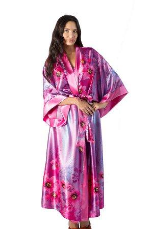 Халат РАСПРОДАЖА! Халаты женские из шелка-сатина прямого силуэта удлиненные. Расцветки различные цветные, набивные. Втачной рукав рубашечного кроя по низу ограничен планкой. Материал: Полиэстер Цвет: