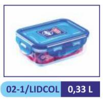Контейнер пластиковый, прямоугольный цветная крышка 0,33,  д/пищ. прод.// LIDCOL 02-1 (48)