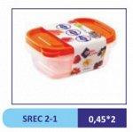 Набор из 2 пластиковых прямоугольных контейнеров ONE TOUCH 450 мл,  д/пищ. прод.//SREC 2-1 (40)
