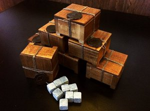 Камни для виски Cubs в деревянной шкатулке с декоративной печатью из сургуча
