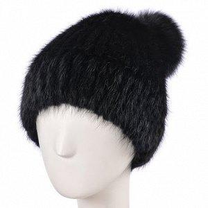 Шапка женская на вязаной основе Лыжница цвет черный