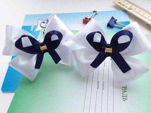 """Школьный бант """"Аниме"""" белый с синей лентой"""
