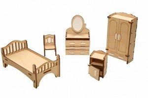 Мебель (длина/ширина/высота, см).  кровать: 12,5*6,5*5,5. шкаф: 3*6*11,5. трюмо с зеркалом: 3*6*10,5. тумбочка прикроватная: 3*3,2*5. стул: 3*3*4,5