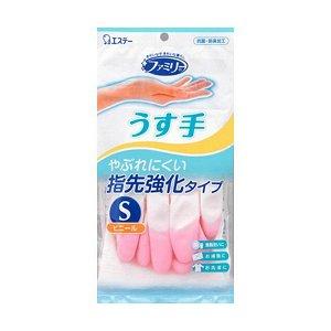 """Виниловые перчатки """"Family"""" (тонкие, без внутреннего покрытия, с уплотнением на кончиках пальцев) бело-розовые РАЗМЕР S, 1 пара / 240"""