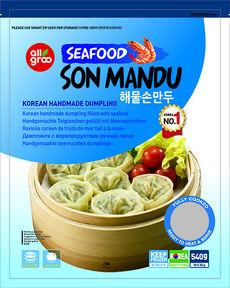 Дамплинги, с морепродуктами р/л/Allgroo Seafood Son Mandu, Ю.Корея, 540 г, (12)
