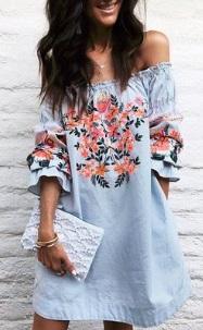 Платье прямого кроя с открытыми плечами Цвет: СИНИЙ
