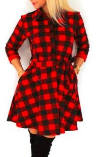 Платье рубашечного кроя с длинными рукавами Цвет: КРАСНЫЙ (КЛЕТКА)