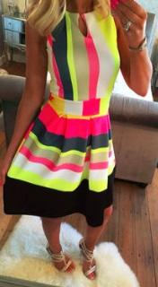 Платье с юбкой в складку без рукавов Цвет: ЦВЕТНОЙ
