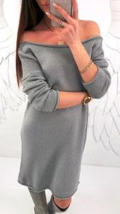 Платье-свитер с длинными рукавами Цвет: СЕРЫЙ