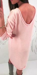 Платье-свитер с длинными рукавами Цвет: РОЗОВЫЙ