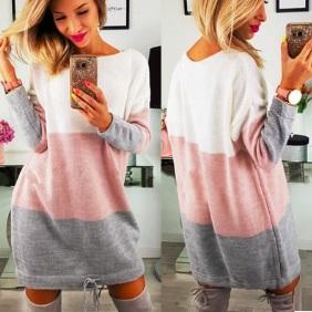 Платье-свитер с длинными рукавами Цвет: РОЗОВО-СЕРЫЙ