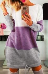 Платье-свитер с длинными рукавами Цвет: ФИОЛЕТОВО-СЕРЫЙ