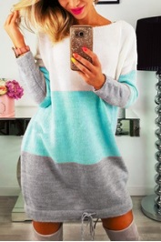 Платье-свитер с длинными рукавами Цвет: СИНЕ-СЕРЫЙ