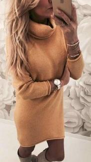 Платье-свитер под горло с длинными рукавами Цвет: ЖЕЛТЫЙ