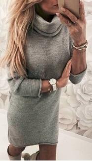 Платье-свитер под горло с длинными рукавами Цвет: СЕРЫЙ