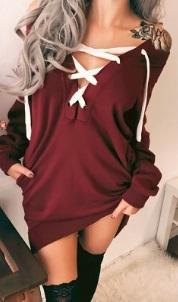 Платье с длинными рукавами и шнуровкой на груди Цвет: БОРДО