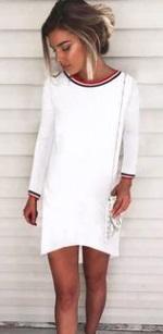 Асимметричное платье с длинными рукавами Цвет: БЕЛЫЙ