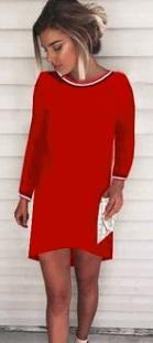 Асимметричное платье с длинными рукавами Цвет: КРАСНЫЙ