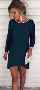 Асимметричное платье с длинными рукавами Цвет: СИНИЙ