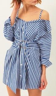 Платье-рубашка на бретелях и короткими рукавами Цвет: СИНИЙ (ПОЛОСКА)
