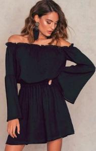 Платье с открытыми плечами и длинными рукавами Цвет: ЧЕРНЫЙ