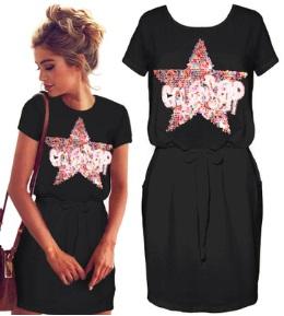Платье с короткими рукавами декорированное пайетками Цвет: ЧЕРНЫЙ