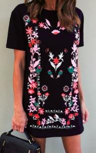 Платье с короткими рукавами декорированное вышивкой Цвет: ЧЕРНЫЙ