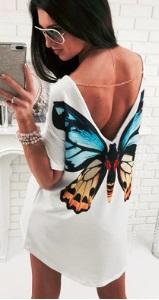 Асимметричное платье-туника с короткими рукавами Цвет: БЕЛЫЙ (БАБОЧКА)