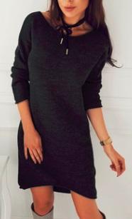Асимметричное вязаное платье с длинными рукавами Цвет: ЧЕРНЫЙ