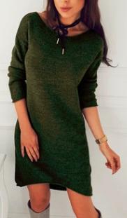 Асимметричное вязаное платье с длинными рукавами Цвет: ЗЕЛЕНЫЙ