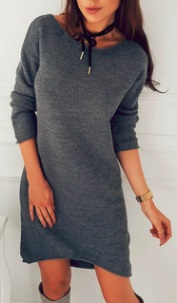 Асимметричное вязаное платье с длинными рукавами Цвет: СЕРЫЙ