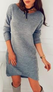 Асимметричное вязаное платье с длинными рукавами Цвет: СВЕТЛО-СЕРЫЙ