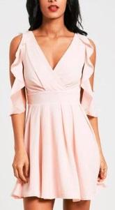 Платье с глубоким декольте и рукавами с рюшами Цвет: РОЗОВЫЙ