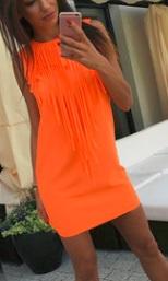 Платье без рукавов декорировано бахромой Цвет: ЛЮМИНЕСЦЕНТНО ОРАНЖЕВЫЙ