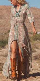 Длинное платье с вырезом спереди и длинными рукавами Цвет: НА ФОТО