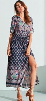 Длинное платье с вырезом спереди и короткими рукавами Цвет: ТЕМНО-СИНИЙ