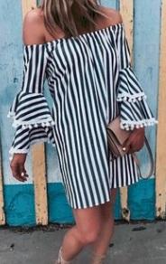 Платье прямого кроя с открытыми плечами и длинными рукавами Цвет: НА ФОТО