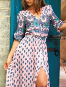 Длинное платье с вырезом спереди и короткими рукавами Цвет: РОЗОВЫЙ