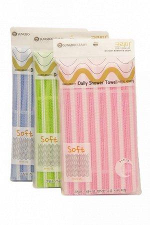"""Мочалка для тела с плетением «Сетка» и плотной тесьмой """"Daily Shower Towel"""" (жёсткая) размер 28 см х 90 см / 200"""