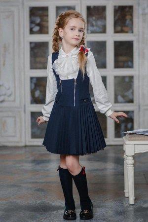 Сарафан школьный синий,очень красивый!!!152 -158р