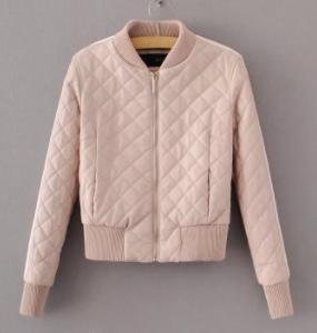 Кожаная куртка розовая с 2 белыми полосками на рукаве