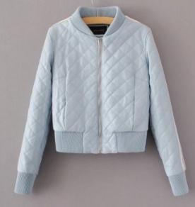 Кожаная куртка голубая с 2 белыми полосками на рукаве