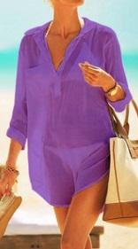 Пляжная туника-рубашка Цвет: ФИОЛЕТОВЫЙ