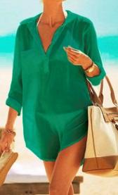 Пляжная туника-рубашка Цвет: ЗЕЛЕНЫЙ