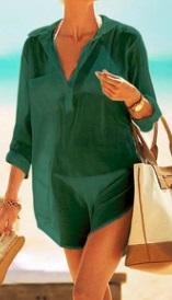 Пляжная туника-рубашка Цвет: ТЕМНО-ЗЕЛЕНЫЙ