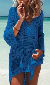 Вязаная пляжная туника с длинными рукавами Цвет: СИНИЙ