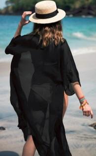 Пляжная туника с короткими рукавами Цвет: ЧЕРНЫЙ