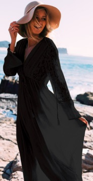 Длинная пляжная туника с длинными рукавами Цвет: ЧЕРНЫЙ