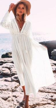 Длинная пляжная туника с длинными рукавами Цвет: БЕЛЫЙ